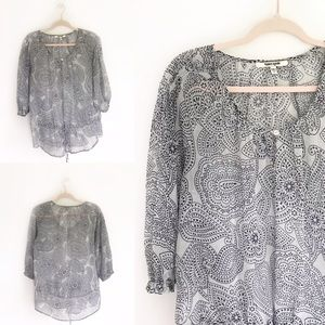 Daniel Rainn Navy Blue Paisley Pattern Blouse
